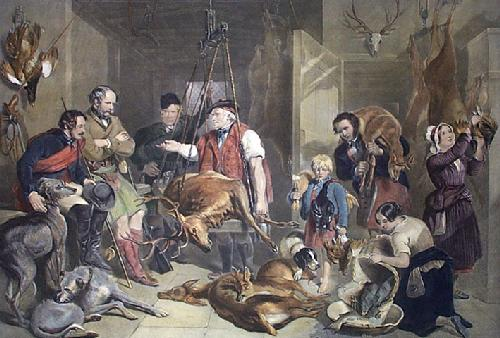 Weighing The Deer (Restrike Etching) by Frederick Tayler