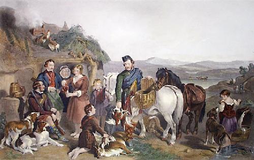 Sportsman Halting At Highland Bothy (Restrike Etching) by Frederick Tayler
