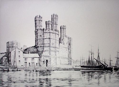 Caernarvon Castle (Restrike Etching) by Graham Clilverd