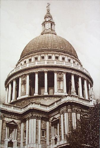 Dome Of St Pauls (Restrike Etching) by Anonymous