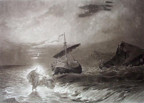 Christ Walking on the Sea (Restrike Etching) by Sanders
