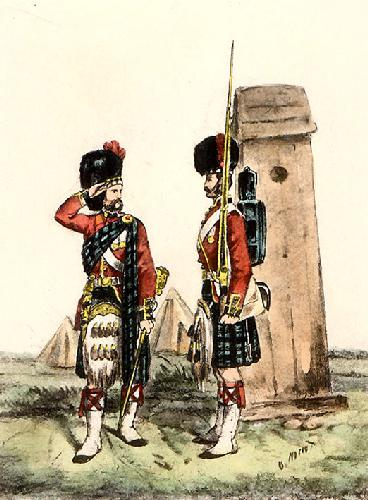 Highlanders 42nd - Sentry Box (Restrike Etching) by Orlando Norie