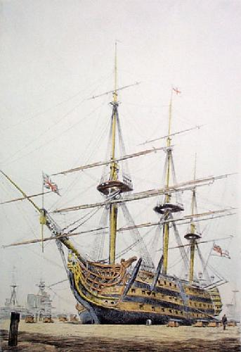 HMS Victory at Portsmouth (Restrike Etching) by Graham Clilverd