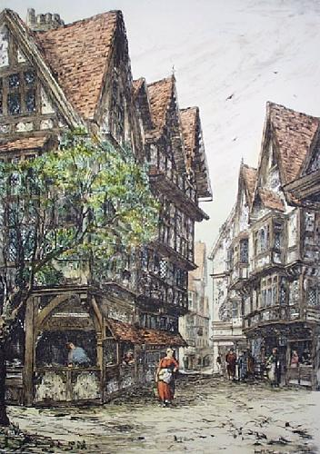 Pye Corner, Hosier Lane (Restrike Etching) by Frank J. Short