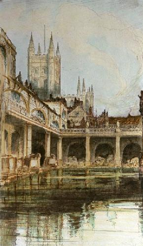 Bath Abbey & Baths (Restrike Etching) by Anonymous