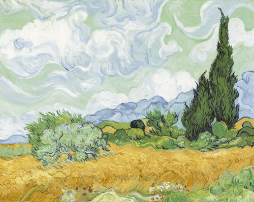 A Wheatfield With Cypresses, 1889 by Vincent Van Gogh