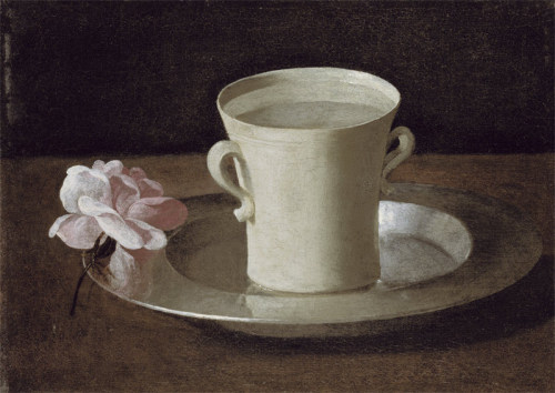A Cup Of Water And A Rose On A Silver Plate by Francisco de Zurbaran