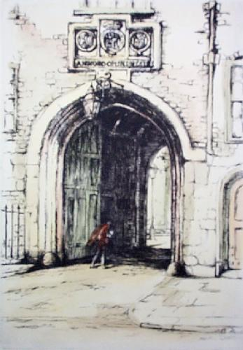 Lincolns Inn Gate (Restrike Etching) by Anonymous