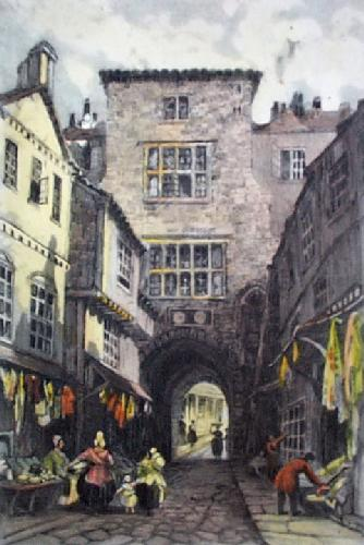 Newcastle, Castle Garth (Restrike Etching) by Whitshaw