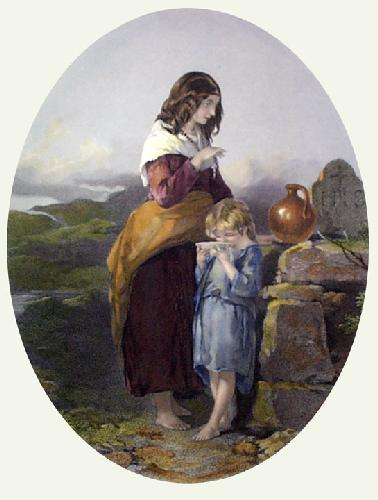 Mother's Blessing (Restrike Etching) by Francis William Topham