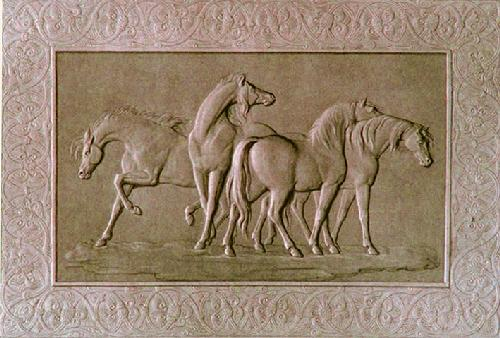 Arabian Horses (Restrike Etching) by Anonymous