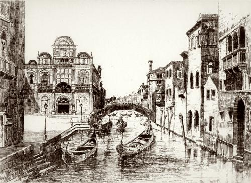 Rio de Merdicante, Venice (Restrike Etching) by Anonymous