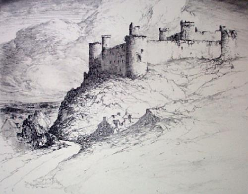 Harlech Castle (Restrike Etching) by Anonymous