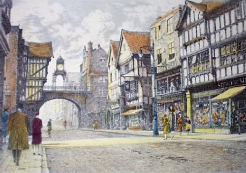 Chester, Eastgate Street (Restrike Etching) by Anonymous