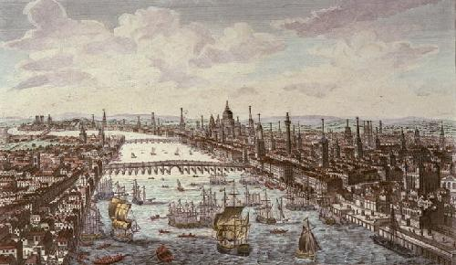 City of London Next to River Thames (Restrike Etching) by Anonymous