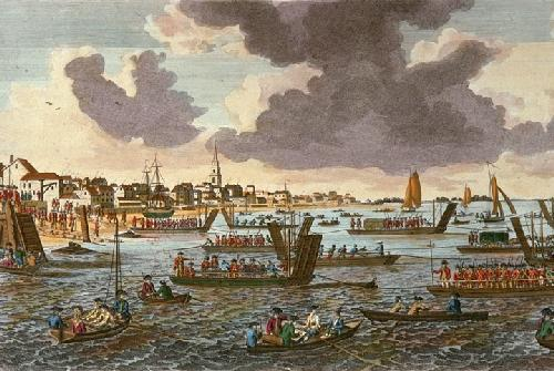 Gravesend (Troops passing Thames) (Restrike Etching) by Anonymous
