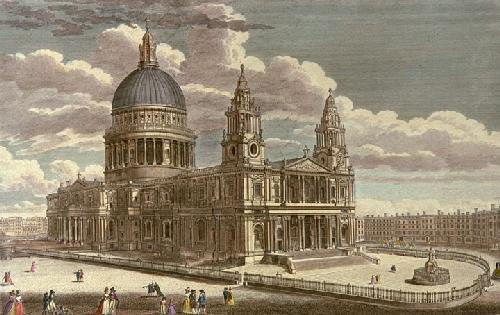 St Pauls, NW View (Restrike Etching) by Anonymous