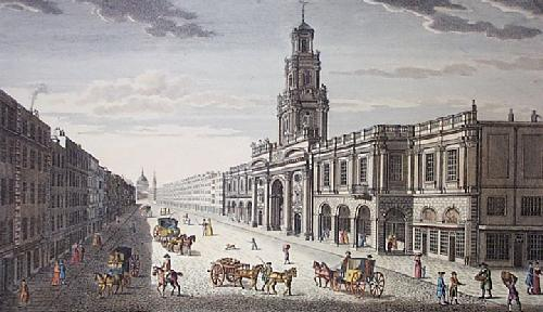 View of Royal Exchange, London (Restrike Etching) by Robert Havell