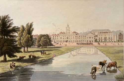 Horse Guards at Melburne House (Restrike Etching) by Robert Havell
