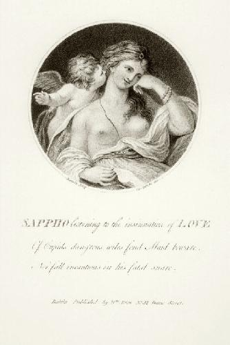 Sappho Listening to Cupid (Restrike Etching) by Giovanni Battista Cipiriani