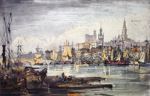 Newcastle Shipping (Restrike Etching) by Anonymous