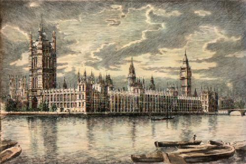 The Houses of Parliament (Restrike Etching) by Anonymous