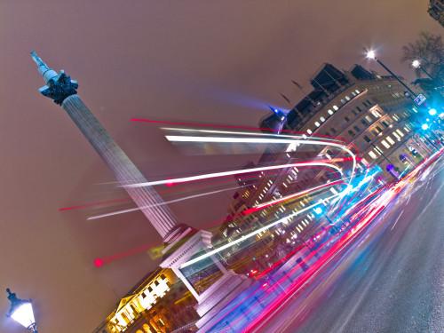 Trafalgar Square London Bus Strip Lights by Assaf Frank
