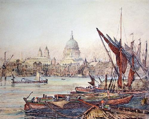 St. Pauls From the Thames (Restrike Etching) by Charles Edward Holloway