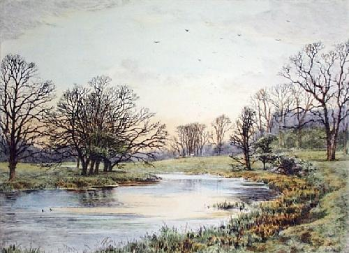 View Of The River Kennet (Restrike Etching) by Frederick Albert Slocombe
