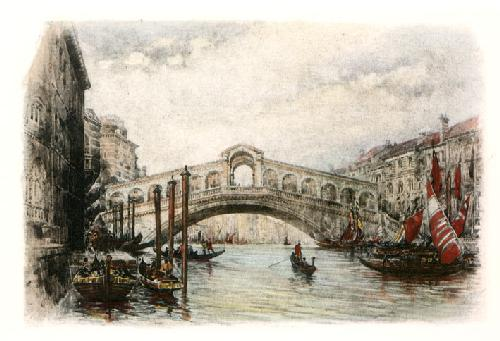 Rialto Bridge, Venice (Restrike Etching) by A.C. Fare