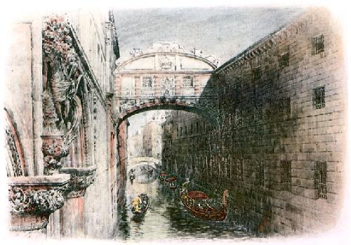 Bridge of Sighs Venice (Restrike Etching) by A.C. Fare