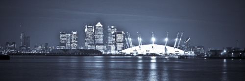Canary Wharf and the Millennium Dome at night panorama 2 by Assaf Frank