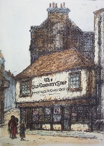 Old Curiosity Shop (Man & Child) (Restrike Etching) by Anonymous