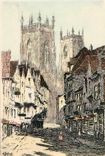 York, street and Cathedral (Restrike Etching) by E. Jaybery