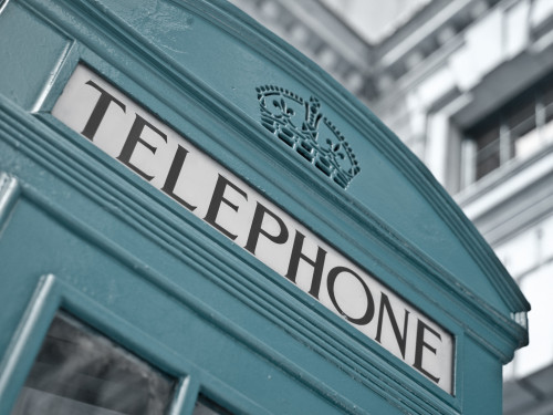 Close-up of telephone box, low angle view, England by Assaf Frank