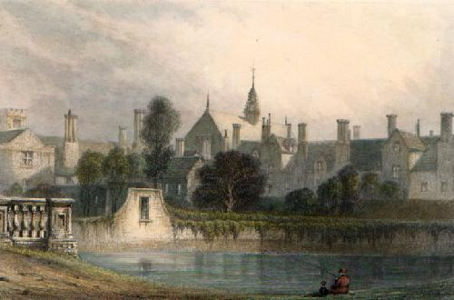 Trinity College from St Johns (Restrike Etching) by J.A. Bell