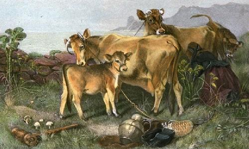A Jersey Family (Restrike Etching) by Edwin Douglas