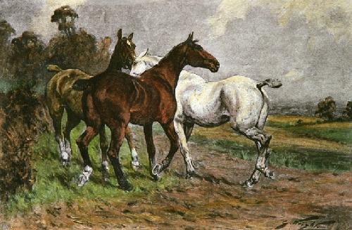 Hunters at Grass (Restrike Etching) by Wright