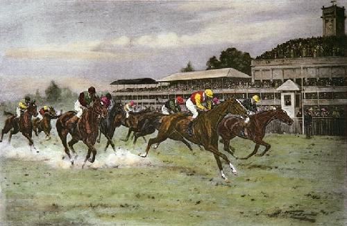 Close Finish, A (Restrike Etching) by Wright