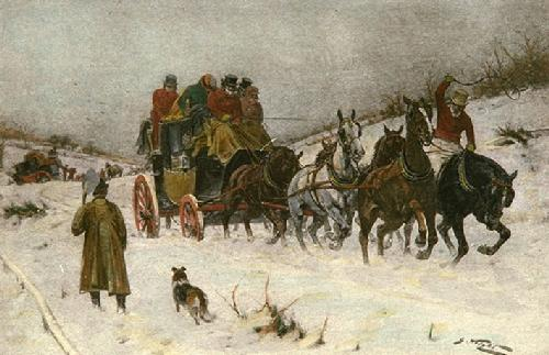 Winter: Well out of the Drifts (Restrike Etching) by Wright