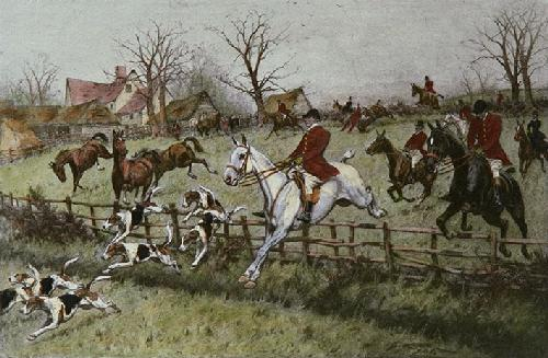 Full Cry Through the Homestead (Restrike Etching) by Wright