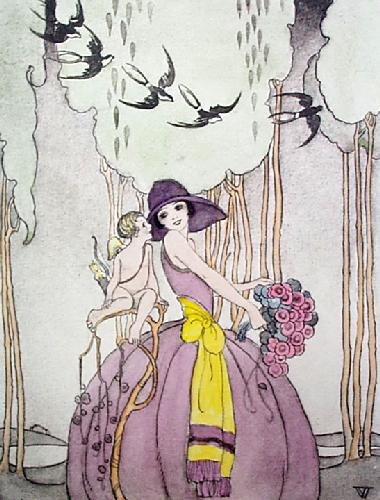 Swallows (Restrike Etching) by Stanley Woollett