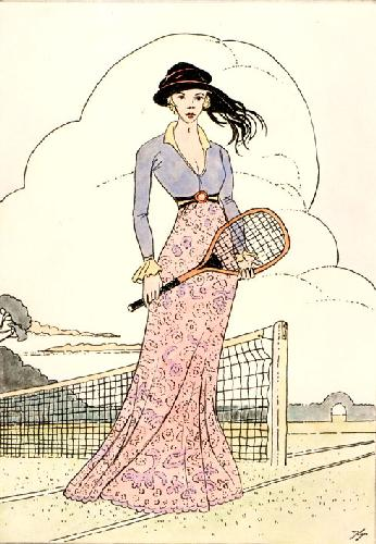 Tennis (Art Deco) (Restrike Etching) by Terence Gilbert
