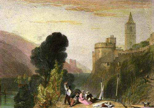 Dartmouth Castle on the River (Restrike Etching) by Joseph Mallord William Turner