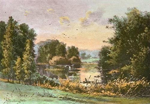 The Lake (Restrike Etching) by Georgina M De L'Aubiniere