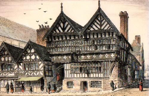 Chester, Falcon Inn, Bridge St (Restrike Etching) by Anonymous