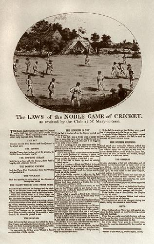 Cricket, Rules of Noble Game (Restrike Etching) by Anonymous