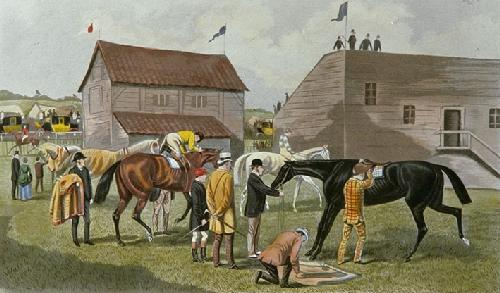 Saddling the Favourite (Restrike Etching) by TNH Walsh