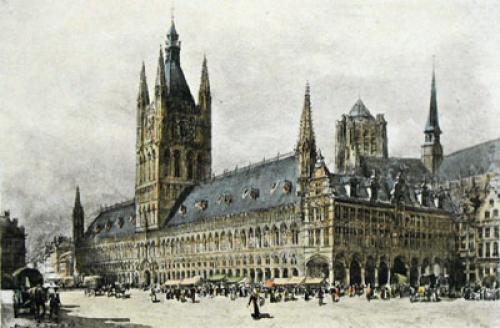 The Cathedral, Ypres (Iepers) (Restrike Etching) by Harry C. Brewer