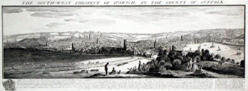 Ipswich, Panorama View (Restrike Etching) by Samuel Buck